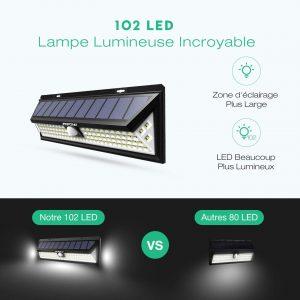 Version Puissant Mpow 102 LED Eclairage Solaire Extérieur Lampe Solaire avis
